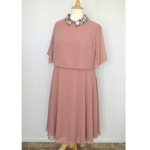 ASOS Beaded Collar Cape Dress Mauve Pink